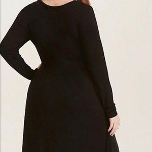 Torrid black knit tie front asymmetrical tunic